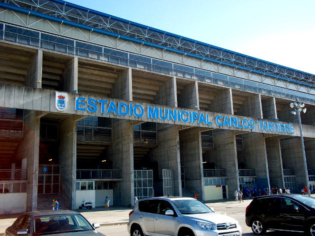 Real Oviedo in the Carlos Tertiere Stadium