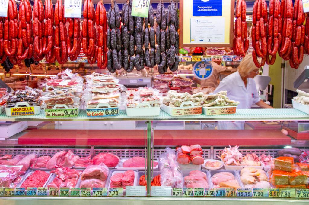 Buying Sausages In Oviedo Asturias Stand