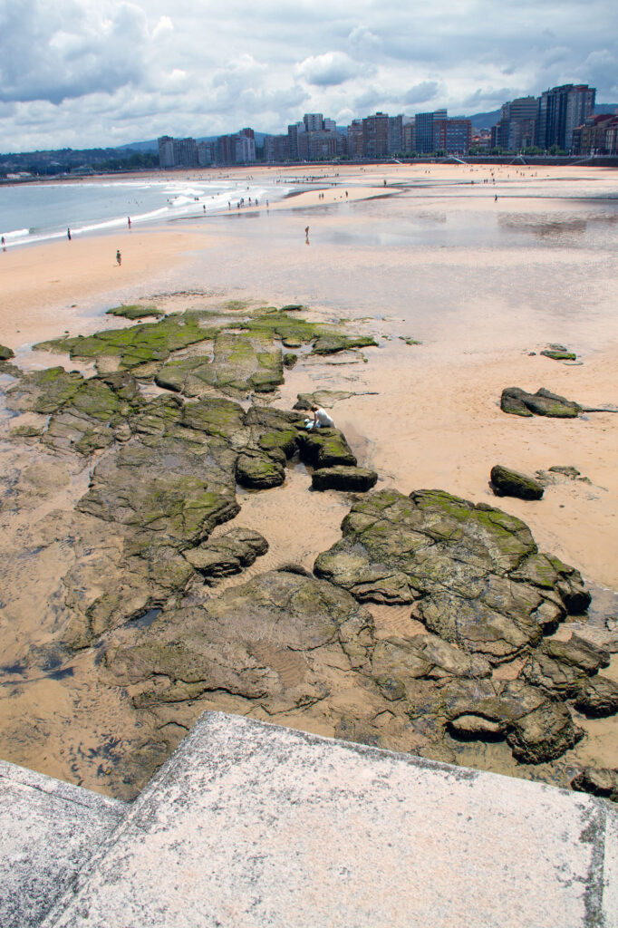 Rock and Sand Beach Gijon Asturias