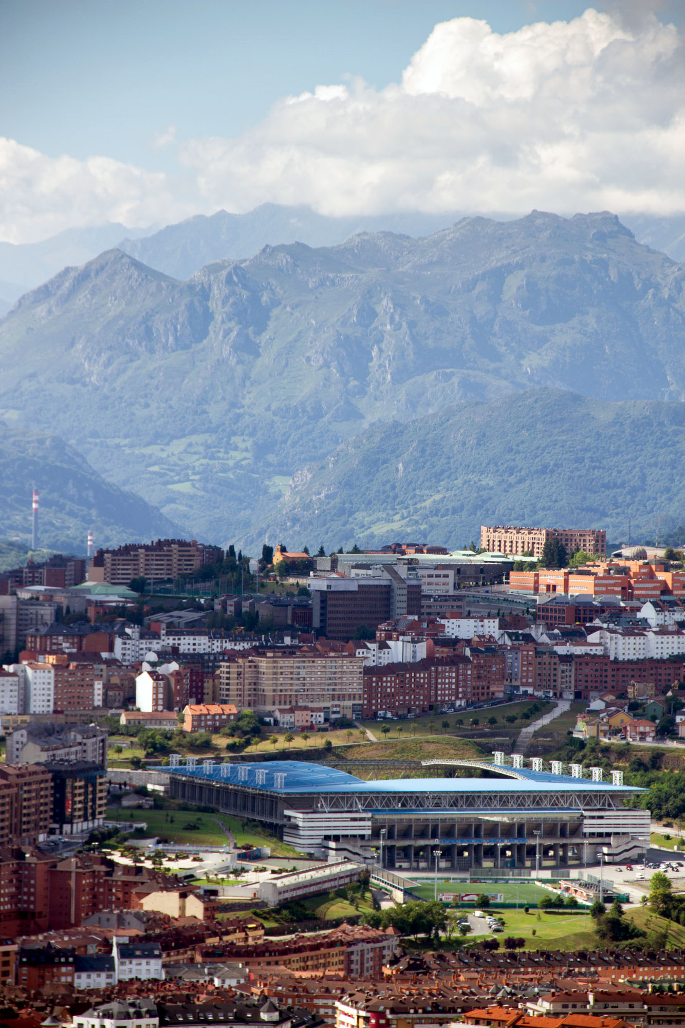Carlos Tertiere Stadium Stock photo seen from a distance, Oviedo - Spain
