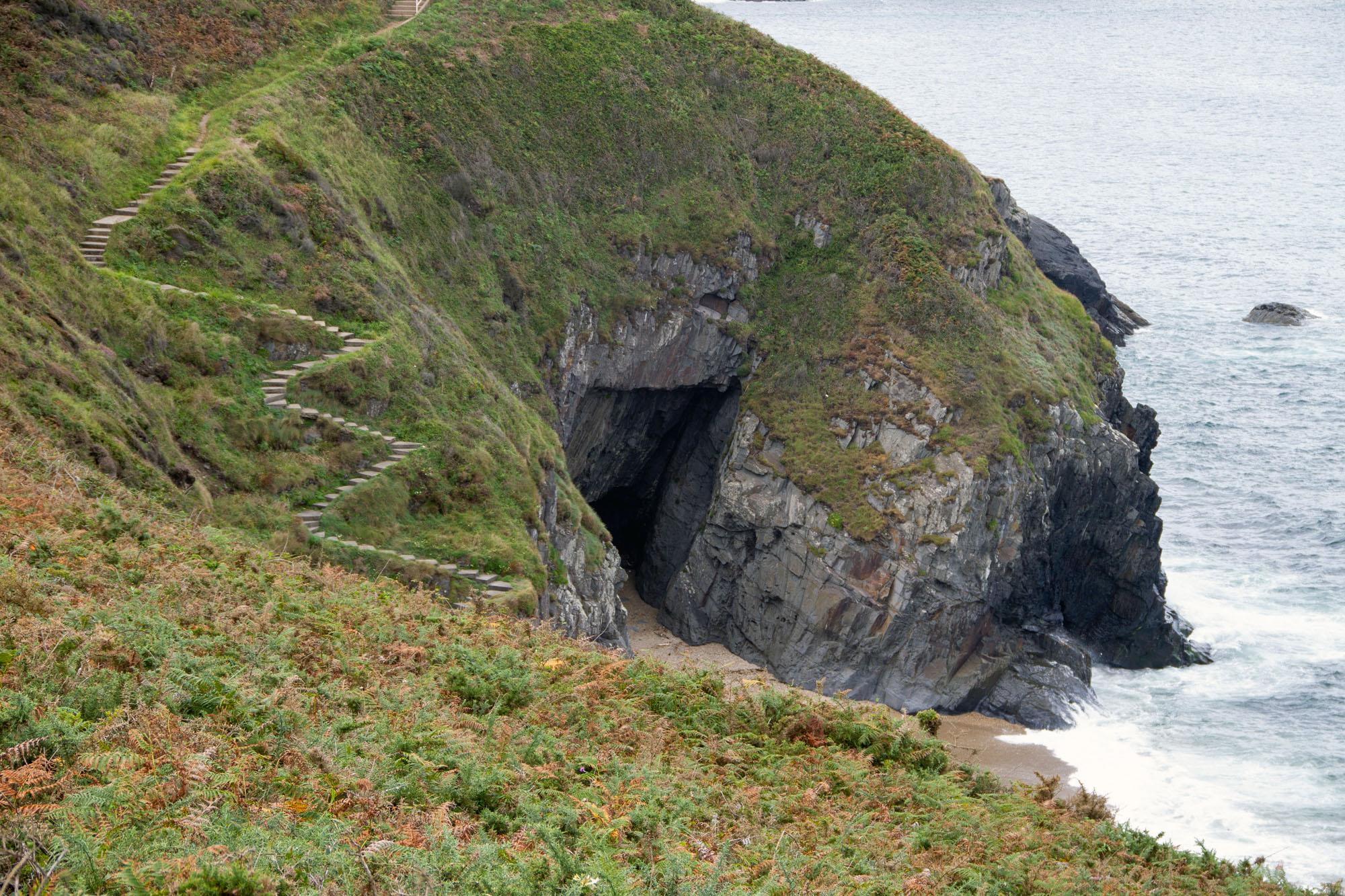 Steep Stairs beach Asturias and cave