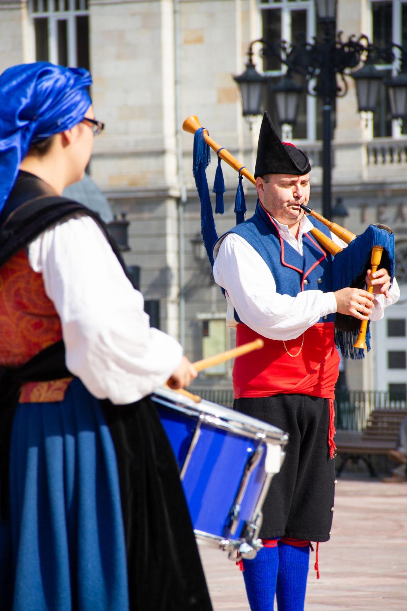 Man playing Asturias Gaita Bagpipe in Oviedo